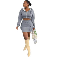 Casual Hoodie Two Piece Skirt Set