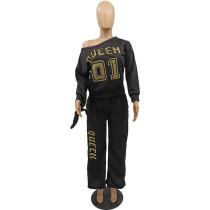 Letter Gilding Oblique Shoulder Sweatshirt Two Piece Outfits