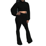 Casual Rib High Neck Lantern Sleeve Blouse and Flared Pants