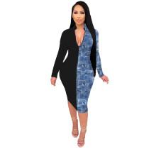 Contrasting Printed Deep V Midi Dress