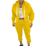 Solid Color Air Layer Hooded Cardigan Top and Trousers with Pocket