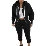 Copy Solid Color Air Layer Hooded Cardigan Top and Trousers with Pocket