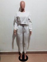 Solid Color Crop Top and Trousers