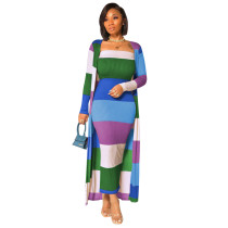 Casual Pit Strip Print Matching Maxi Dress with Long Coat