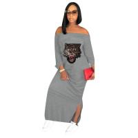 Casual Off Shoulder Sequins Tiger Head Maxi Dress