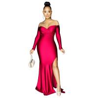 Solid Color Off Shoulder Split Evening Dress