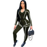 Solid Color Drawstring U-neck Sports Two Piece Outfits