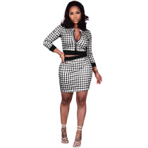 Casual Zipper Plaid Printed Top Skirt Set