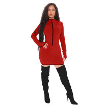 Solid Color Zipper Stitching Mini Dress