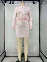 Casual Zipper Plaid Printed Top Skirt Set