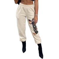 Casual Beige Printed Trouser