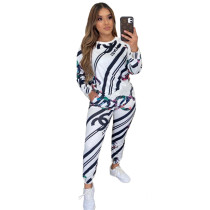 Casual Print Sports Two Piece Outfits