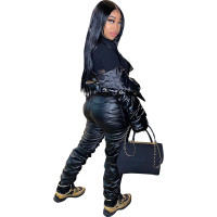 Stacked PU Leather Pants