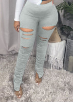 Ripped Hole Slit Stacked Pants