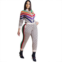 Casual Printed Stitching Pant Set