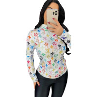 Casual Round Neck Pattern Print Blouse