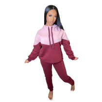 Casual Stitching Hooded Two Piece Outfits