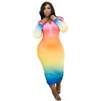 Casual Tie-dye Print Zippers Maxi Dress