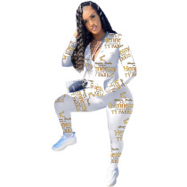 Casual Letter Printed Sports Pant Set