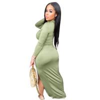 Solid Color High Neck Side Split Maxi Dress
