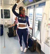 Casual Long Sleeve Sports Letter Print Two Piece Set