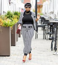 Casual Houndstooth Cardigan and Trousers