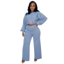 Solid Color Knit Bat Sleeve Two Piece Outfits