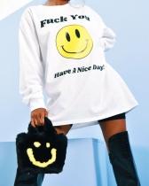 Casual Smiley English Printed Top