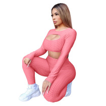 Solid Color Hollow Yoga Sports Two Piece Outfits