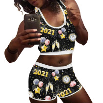 2021 New Year Pattern Tank Top Yoga Shorts Set