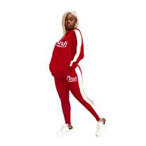 Casual Printed Hood Sports Two Piece Outfits