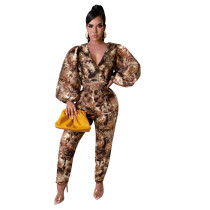 Casual Bat Sleeve Printed Two Piece Set
