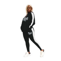 Casual Printed Hooded Sports Two Piece Outfits