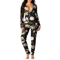 2021 New Year Pattern Printed Home Jumpsuit