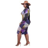 Casual Printed Midi Dress with Belt