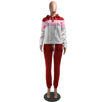 Casual Sports Hoodie Stitching Two Piece Outfits