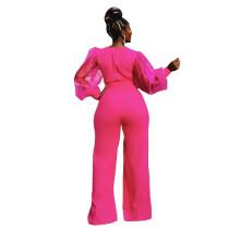 Solid Color V Neck Net Lantern Sleeve Jumpsuit with Belt