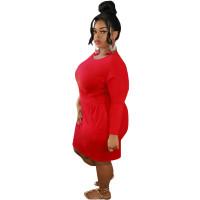 Solid Color Long Sleeve Bandage Midi Dress