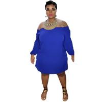Solid Color Off Shoulder Long Sleeve Midi Dress