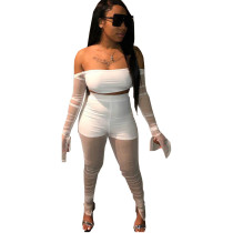 Sexy See Through Mesh Flared Sleeves Crop Top and Pants