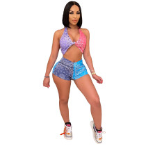 Casual Multicolor Print Stitching Halter Short Set