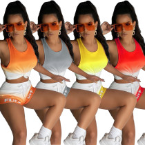 Casual Letter Print Gradient Vest Sports Short Set