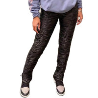 PU Leather Slits Stacked Pants