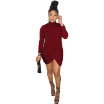 Solid Color High Neck Cross Slit Mini Dress