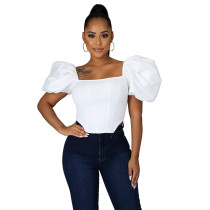 Solid Color Satin Puff Sleeve Crop Top