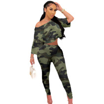 Casual Printed Hipster Camouflage Crop T-shirt and Pants