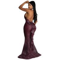 Sexy Backless Deep V-neck Strap Fishtail Maxi Dress