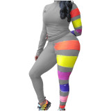 Casual High Neck Zipper Paint Two Piece Outfits