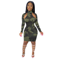 Casual Camouflage Print Midi Dress