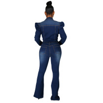 Casual Washed Flared Denim Jumpsuit